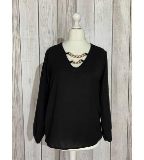 blouse zwart met ketting