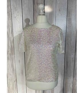 blouse met glitters wit