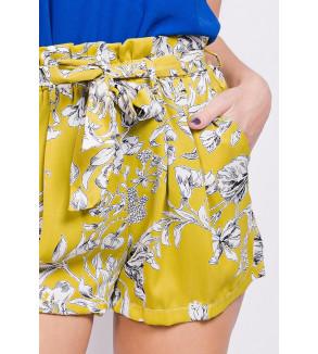 short geel met bloemen print